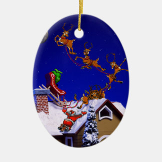 Christmas - Santa crashed on the rooftop Ceramic Oval Decoration