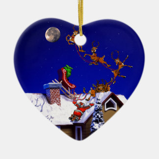 Christmas - Santa crashed on the rooftop Double-Sided Heart Ceramic Christmas Ornament
