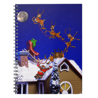 Christmas - Santa crashed on the rooftop Spiral Notebook