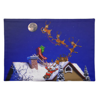 Christmas - Santa crashed on the rooftop Placemats