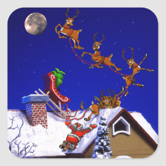 Christmas - Santa crashed on the rooftop Square Sticker