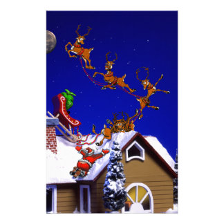 Christmas - Santa crashed on the rooftop Stationery Design
