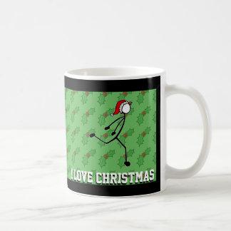 Christmas Santa Dipping Sprinter Holly Stickman Coffee Mug