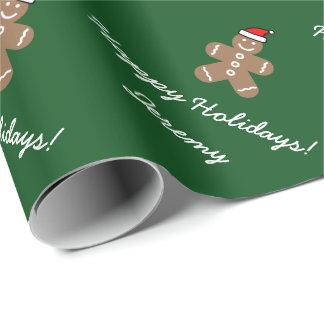 Christmas Santa gingerbread man wrapping paper