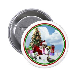 Christmas Santa Goose And Ducks 6 Cm Round Badge