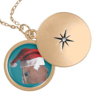 Christmas Santa Hat Horse Gold Plated Necklace