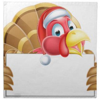 Christmas Santa Hat Turkey Holding a Sign Cloth Napkin