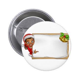 Christmas Santa Helper Elf Character Sign 6 Cm Round Badge