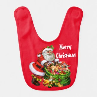 Christmas Santa Holiday baby bib