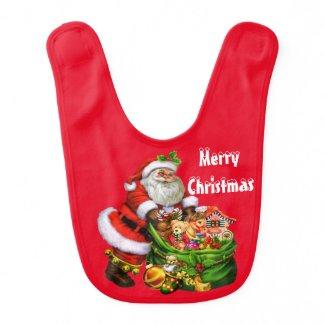 Christmas Santa Holiday baby bib