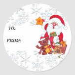 Christmas Santa Holiday Gift Tag Round Sticker