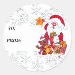 Christmas Santa Holiday Gift Tag Sticker