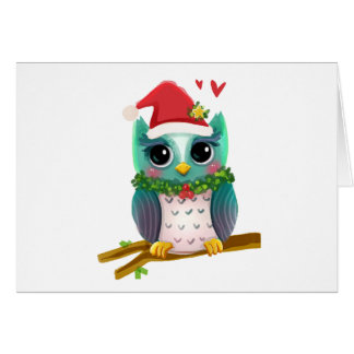 Christmas Santa Holiday Owl Mistletoe Cute Greeting Card