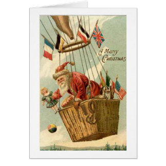 Christmas Santa in Hot Air Balloon Card