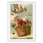 Christmas Santa in Hot Air Balloon Greeting Card