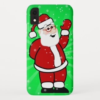 Christmas Santa in Red Suit Green Background Snow iPhone XR Case