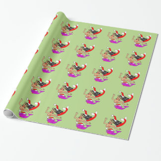 Christmas Santa Maribel the Mermaid with Dolphin Wrapping Paper