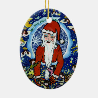 Christmas Santa Ornament - World Peace