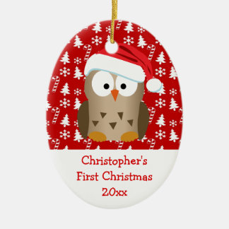 Christmas Santa Owl Personalized Kids/Baby/First Christmas Ornament