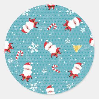 Christmas Santa pattern Round Sticker