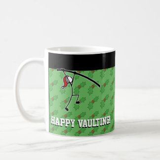 Christmas Santa Pole Vault Vaulter Holly Stickman Coffee Mug