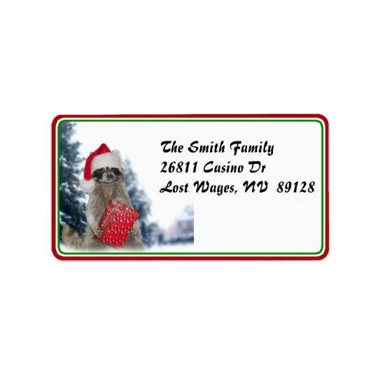 Christmas Santa Racoon Bandit Label