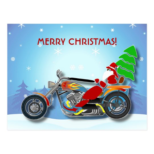 Christmas Santa Riding Chopper Bike With Red Hat