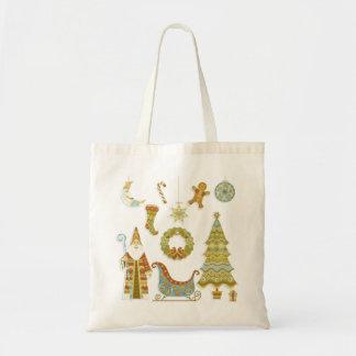 Christmas Santa Scene with Tree and Sleigh Budget Tote Bag