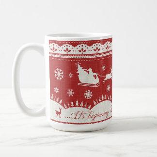 Christmas Santa Sleigh and Reindeer Mug