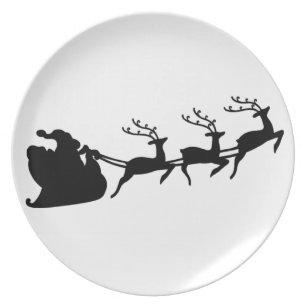 Santa Reindeer Plates | Zazzle UK