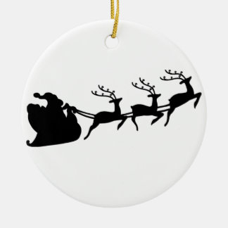 Christmas Santa Sleigh and Reindeer Round Ceramic Decoration