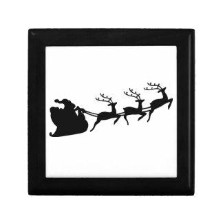 Christmas Santa Sleigh and Reindeer Small Square Gift Box
