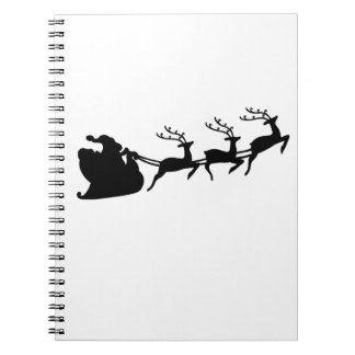 Christmas Santa Sleigh and Reindeer Spiral Notebook