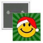 Christmas Santa Smiley Face 15 Cm Square Badge