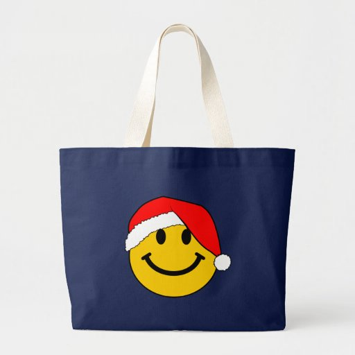 Christmas Santa Smiley Face Tote Bags