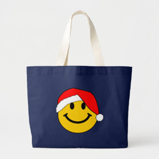 Christmas Santa Smiley Face Large Tote Bag