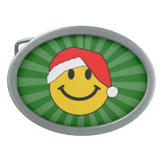 Christmas Santa Smiley Face Oval Belt Buckles