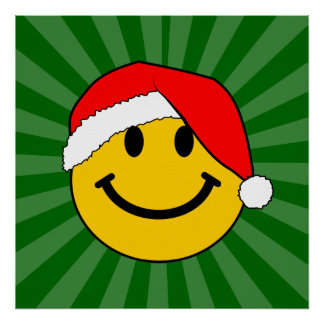 Christmas Santa Smiley Face Posters