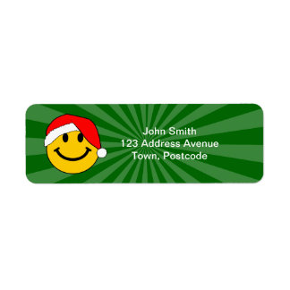 Christmas Santa Smiley Face Return Address Label