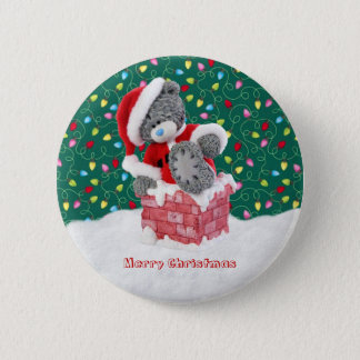 Christmas Santa Teddy Bear Button