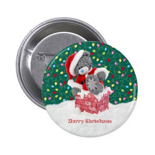 Christmas Santa Teddy Bear Button