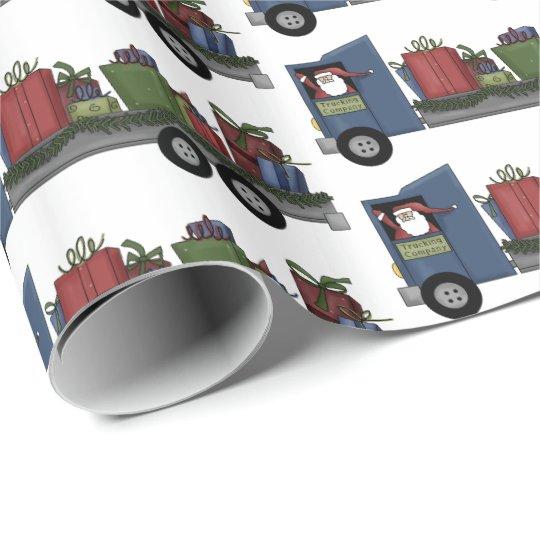 Christmas Santa truck driving Santa party wrap Wrapping Paper