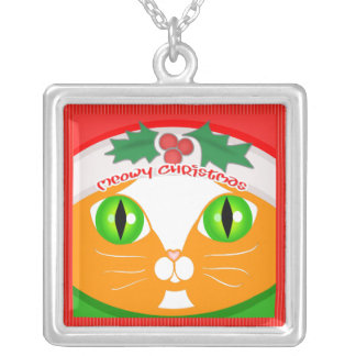 Christmas Santa Tuxedo Cat Face Sterling Necklace