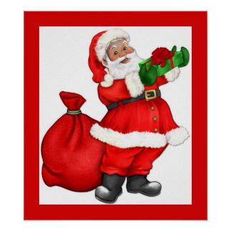Christmas Santa with Gift Posters