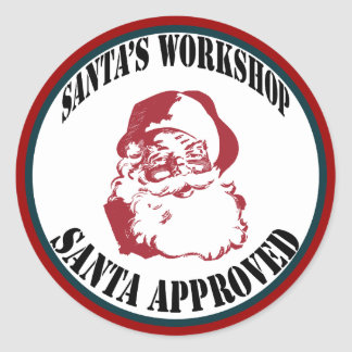 Christmas Santa's Workshop Santa Approved Classic Round Sticker