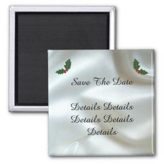 Christmas Satin and Holly Custom Wedding Magnet