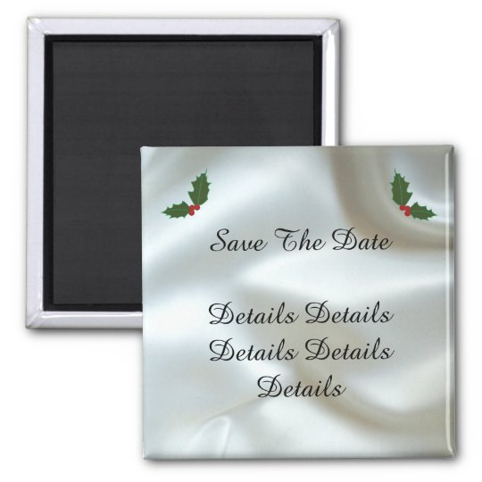 Christmas Satin and Holly Custom Wedding Magnet