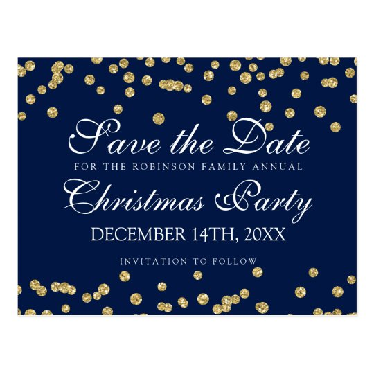 Christmas Save The Date Gold Glitter Confetti Navy