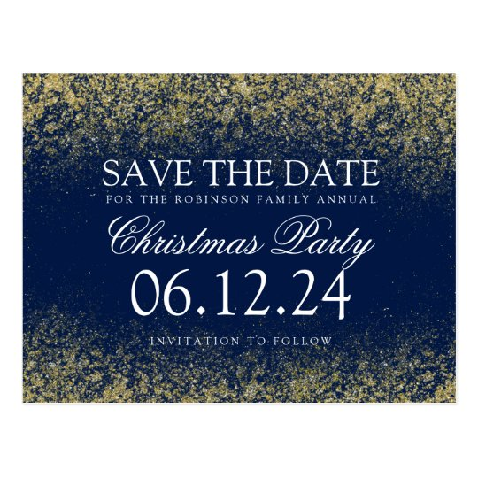 Christmas Save The Date Gold Glitter Dust Navy