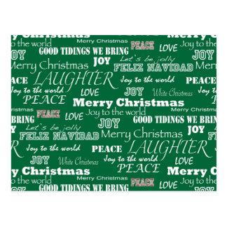 Christmas Sayings Typography Postcard